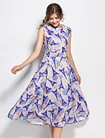 SUOQI Women Dresses Round Neck Sleeveless Knee-length Dress Blue Slim Accept Waist Jacquard Print Summer Dress