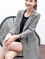 Women's Going out Party Sexy Cute Chinoiserie Spring Fall Blazer,Solid Round Neck Long Sleeve Regular Cotton Acrylic