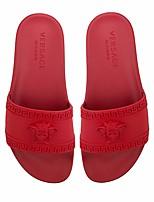 Damen Slippers & Flip-Flops PU Frühling Schwarz Rot Blau Flach