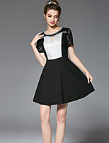 OUYALIN Women's Plus Size Casual/Daily Party Sexy Vintage Sophisticated A Line Sheath Dress Color Block Patchwork Lace Bead