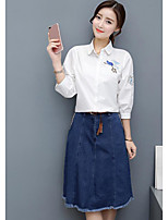 Women's Casual/Daily Simple Summer Shirt Skirt Suits,Solid Shirt Collar Long Sleeve Micro-elastic