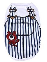 Katze Hund T-shirt Hundekleidung Lässig/Alltäglich Streifen Dunkelblau Blau Rosa Hellblau