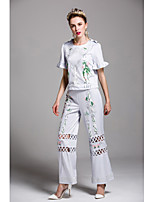 By Megyn Women's Going out Casual/Daily Cute Spring Summer Shirt Pant SuitsPrint Round Neck Short Sleeve