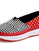 Для женщин Мокасины и Свитер Удобная обувь Полотно Весна Повседневные Удобная обувь Красный Синий Розовый На плоской подошве