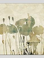 Ručně malované Květinový/Botanický motiv Čtvercový,Moderní Klasický Jeden panel Plátno Hang-malované olejomalba For Home dekorace