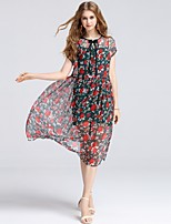 8CFAMILY Women's Daily Casual Going out Casual/Daily Sexy Cute Sophisticated A Line DressFloral Round Neck Midi Knee-length SleevelessSilk