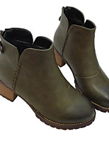 Women's Boots Comfort PU Spring Casual Screen Color Green Black Flat