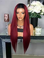 Ombre t1b / laço de borracha peruca de cabelo humano dianteiro cabelo liso para mulher peruca de renda glueless de cabelo virgem