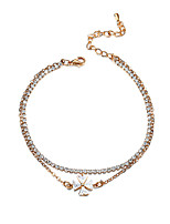 Lureme Fashion Metal Gold Tone with Cubic Zirconia Flower Pendant Anklet Foot Jewelry