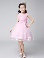 Ball Gown Short / Mini Flower Girl Dress - Cotton Satin Tulle Jewel with Bow(s) Crystal Detailing Flower(s)