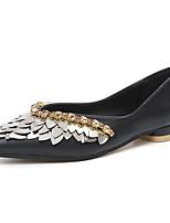 Для женщин Обувь на каблуках Полиуретан Весна Лето Осень Стразы На плоской подошве Черный Миндальный На плоской подошве