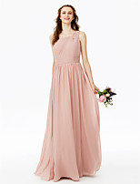 2017 LAN TING BRIDE Floor-length One Shoulder Bridesmaid Dress - Open Back Elegant Sleeveless Chiffon