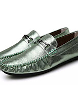 Men's Loafers & Slip-Ons Moccasin PU Spring Fall Outdoor Moccasin Flat Heel Black Silver Light Green Under 1in