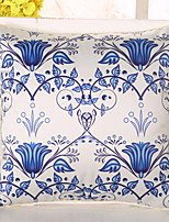1 Pcs Top Grade Emulation Silk Pillow Cover Blue Flowers Pillow Case