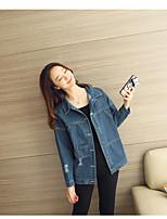 Women's Going out Simple Spring Denim Jacket,Solid V Neck Long Sleeve Regular Cotton