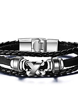 Men's Leather Bracelets Fashion Hip-Hop Rock Circle Round Jewelry For Birthday Gift Sports Christmas Gifts