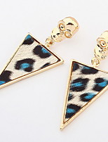 Euramerican  Personalized  Rock Skull Leopard Triangle Earrings Women's Halloween Statement Jewelry