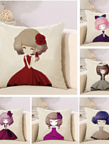Set Of 6 Cartoon A Little Princess Printing Pillow Cover Cute Pillow Case 45*45Cm Cushion Cover