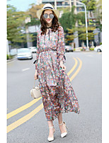 MMLJ Women's Going out Casual/Daily Cute Swing DressPrint V Neck Maxi Long Sleeve Silk Spring Summer Mid Rise Inelastic Thin