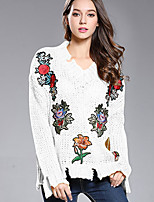 Women's Casual/Daily Regular Pullover,Embroidered Round Neck Long Sleeve Polyester Spring Fall Medium Stretchy