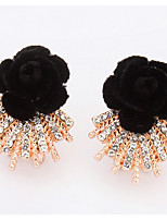 Euramerican  Fashion  Friendship  Rhinestone Lady  Office & Career  Black Flower  Earrings  Statement Jewelry