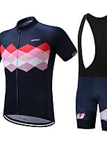 SUREA Maillot et Cuissard à Bretelles de Cyclisme Homme Manches courtes Vélo Ensemble de VêtementsSéchage rapide Respirable Compression