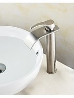 Centerset Waterfall with  Ceramic ValveNickel Brushed , Bathroom Sink Faucet
