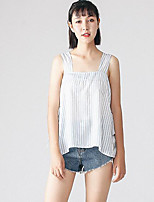 Women's Casual/Daily Simple Tank Top,Striped Strap Sleeveless Polyester