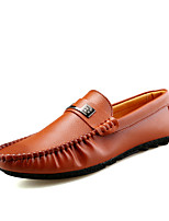 Men's Loafers & Slip-Ons Comfort PU Spring Summer Outdoor Casual Flat Heel Light Brown Black Flat