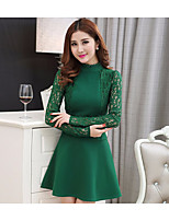 Women's Going out Casual/Daily Sheath Lace Dress,Solid Crew Neck Mini Long Sleeve Polyester Summer Mid Rise Micro-elastic Medium