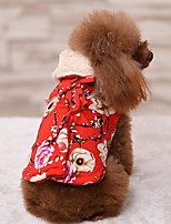Dog Coat Dog Clothes Casual/Daily Keep Warm Floral / Botanical Ruby Blue Blushing Pink