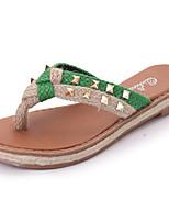Damen Slippers & Flip-Flops Leinen Sommer Walking Niete Flacher Absatz Rot Grün 5 - 7 cm