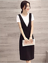 Women's Going out Casual/Daily Sexy Cute T-shirt Dress Suits,Solid Round Neck Sleeveless Micro-elastic