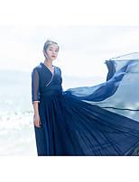Для женщин Пляж С летящей юбкой Платье Однотонный,V-образный вырез Макси Длинный рукав Полиэстер Лето С низкой талией Слабоэластичная
