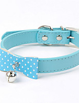 Collar Wateproof Portable Adjustable With Bell Solid Polka Dot Butterfly PU Leather