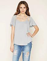 T-shirt Da donna Semplice Estate,Tinta unita Rotonda Poliestere Manica corta Medio spessore