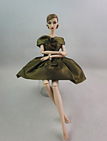 Party/Evening Dresses For Barbie Doll Olive Green Dress For Girl's Doll Toy