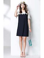 MEIDONGTAIWomen's Casual/Daily A Line DressColor Block Round Neck Above Knee Short Sleeve Polyester Summer High Rise Micro-elastic Thin