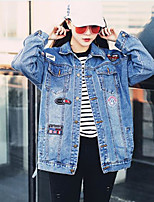 Women's Casual/Daily Active Spring Denim Jacket,Letter Stand Long Sleeve Regular Cotton