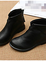 Women's Boots Comfort Nappa Leather Spring Casual Black Flat