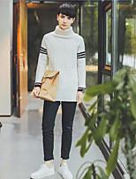 Для мужчин Повседневные Длинный Пуловер Однотонный,Круглый вырез Длинный рукав Искусственный шёлк Зима Толстая Слабоэластичная