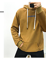 Men's Daily Hoodie Solid Letter Hooded Inelastic Cotton Long Sleeve Spring Fall