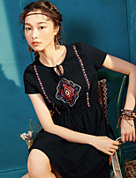 I BELIEVE YOUWomen's Casual/Daily Loose DressSolid Round Neck Above Knee Short Sleeve Polyester Summer Mid Rise Micro-elastic Thin