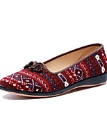 Для женщин Мокасины и Свитер Удобная обувь Ткань Весна Осень Повседневные Удобная обувь Пряжки На плоской подошве Красный СинийМенее 2,5