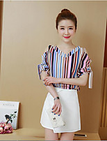 Women's Casual/Daily Simple Summer T-shirt Skirt Suits,Solid Striped Deep V Short Sleeve