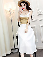 Для женщин На выход На каждый день Лето Рубашка Юбки Костюмы V-образный вырез,Сексуальные платья Уличный стиль Однотонный Без рукавов