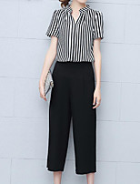 Women's Casual/Daily Simple Shirt Pant Suits,Striped Shirt Collar Short Sleeve Micro-elastic
