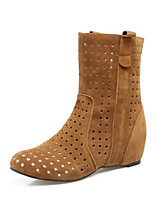 Women's Boots Novelty Fleece Spring Fall Casual Party & Evening Dress Novelty Flat Heel Ruby Yellow Gray Black Flat
