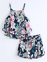 Girls' Print Sets,Cotton Summer Sleeveless Clothing Set