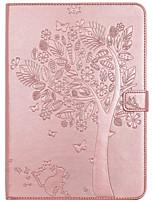 Pour porte-cartes porte-porte porte-monnaie avec support flip en relief corps complet arbre chat papillon pu dur cuir pour ipad (2017) pro
